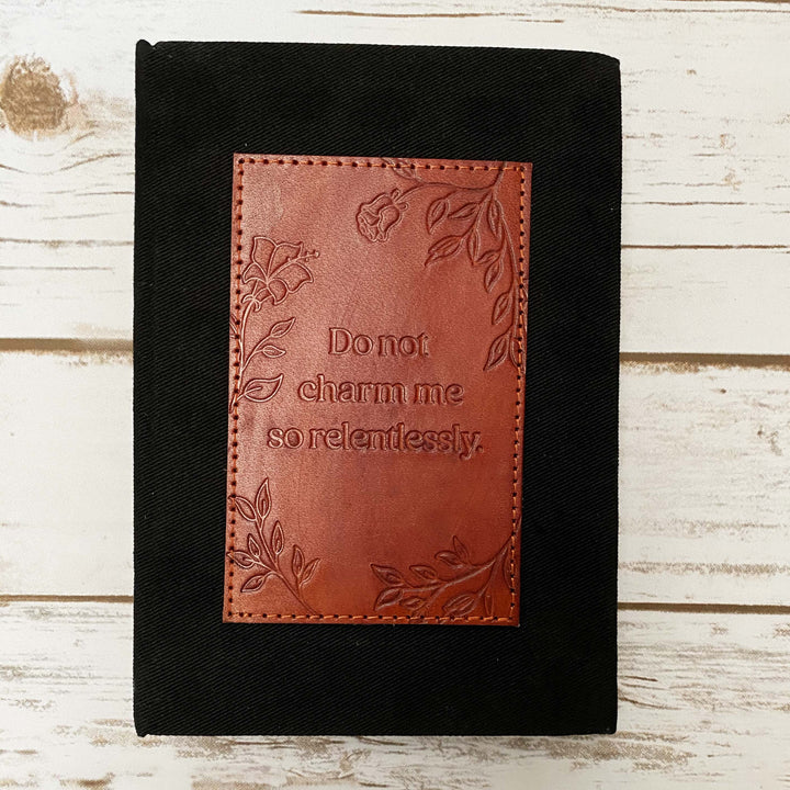 Charm Me Fabric And Leather Layflat Bullet Journal - Leather Journals By Soothi