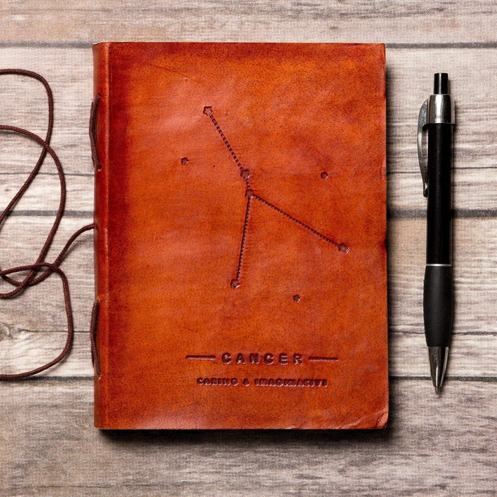 Cancer Zodiac Handmade Leather Journal - Leather Journals By Soothi