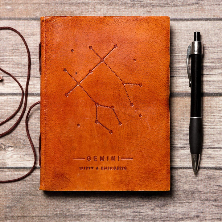 Gemini Zodiac Handmade Leather Journal - Leather Journals By Soothi