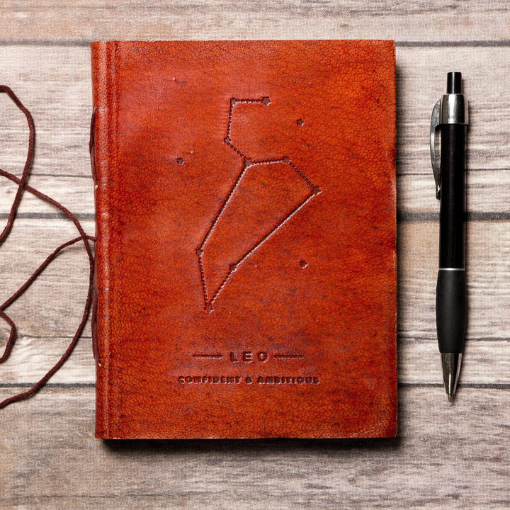 Leo Zodiac Handmade Leather Journal - Leather Journals By Soothi
