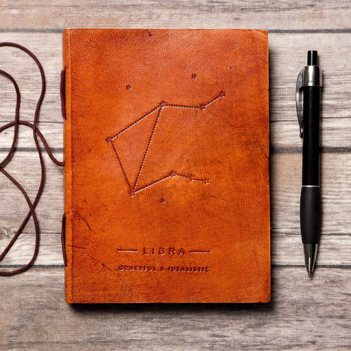 Libra Zodiac Handmade Leather Journal - Leather Journals By Soothi