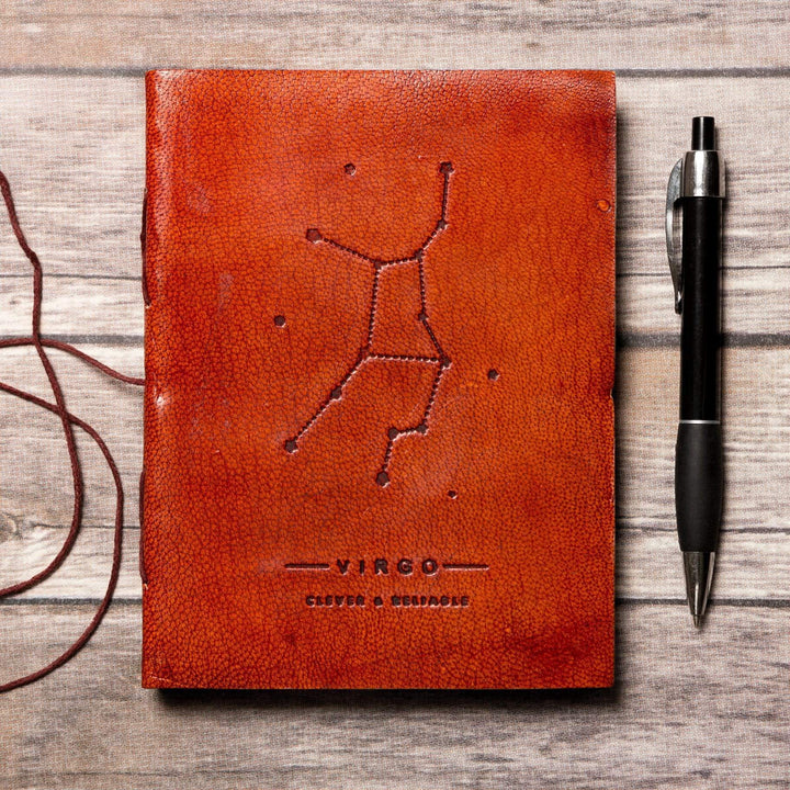 Virgo Zodiac Handmade Leather Journal - Leather Journals By Soothi