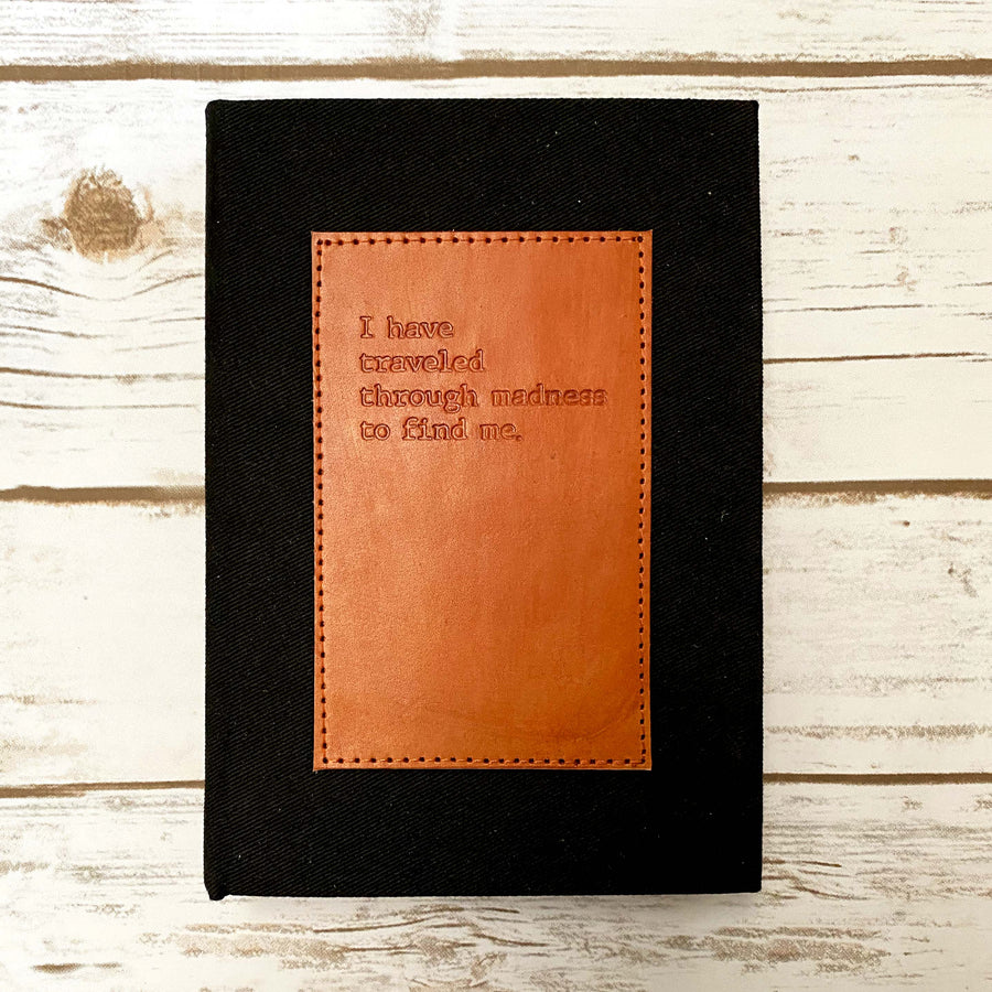 Madness Fabric And Leather Layflat Bullet Journal - Leather Journals By Soothi