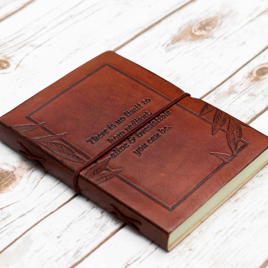 No Limit Quote Handmade Leather Journal - Leather Journals By Soothi