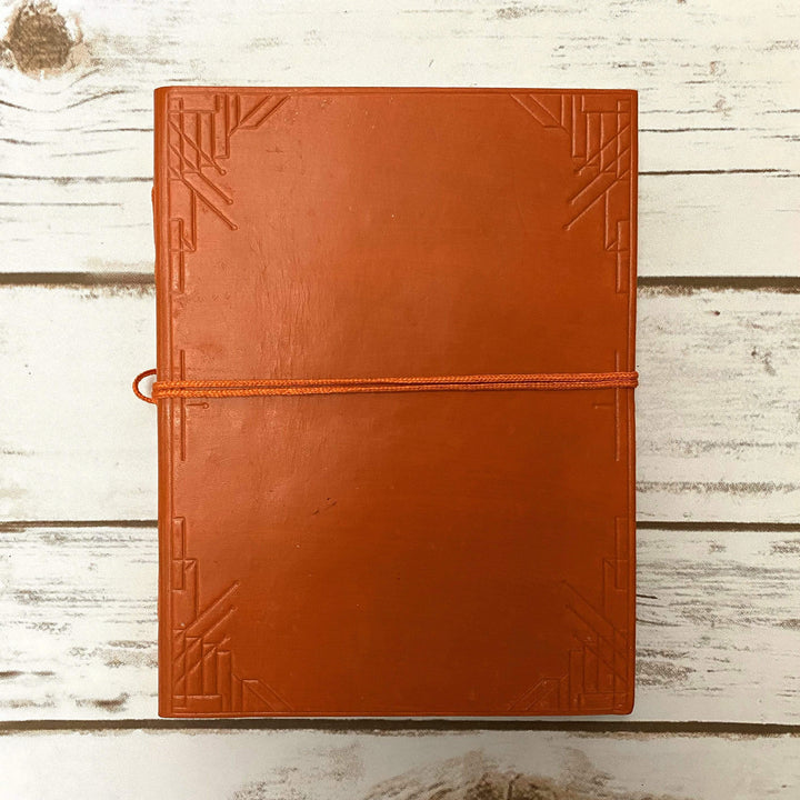 Custom Leather Journals - Lined, Orange Tone 8x6 - Leather Journals By Soothi