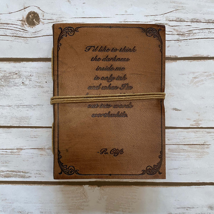 "R.Clift ""Darkness Inside Is Only Ink"" Handmade Leather Journal"