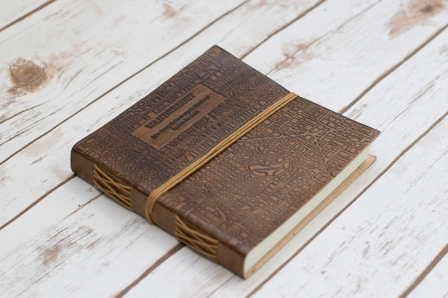 Wanderlust Square Handmade Leather Journal - Leather Journals By Soothi
