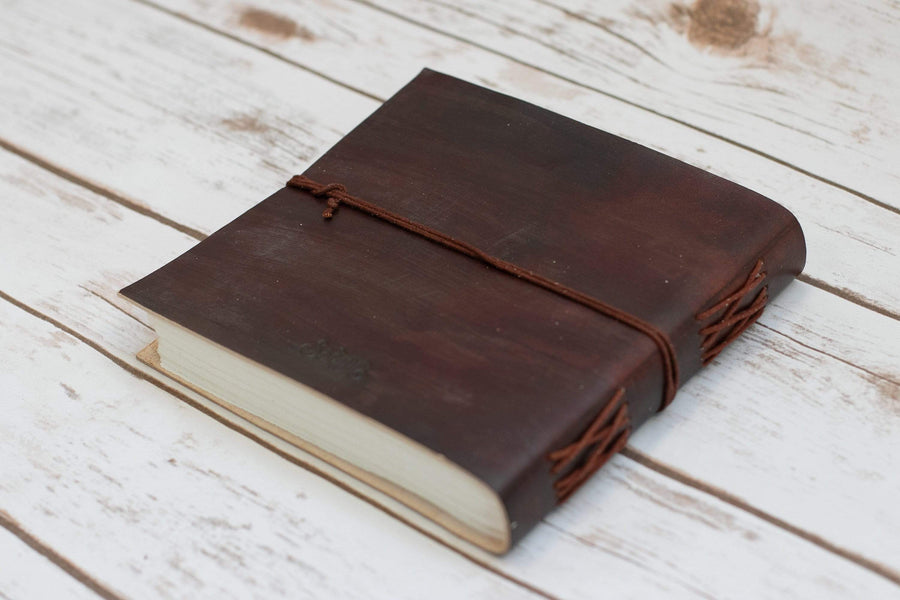 World Map Square Handmade Leather Journal - Leather Journals By Soothi
