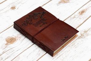 """The Mountains Are Calling"" Handmade Leather Journal - Leather Journals By Soothi"