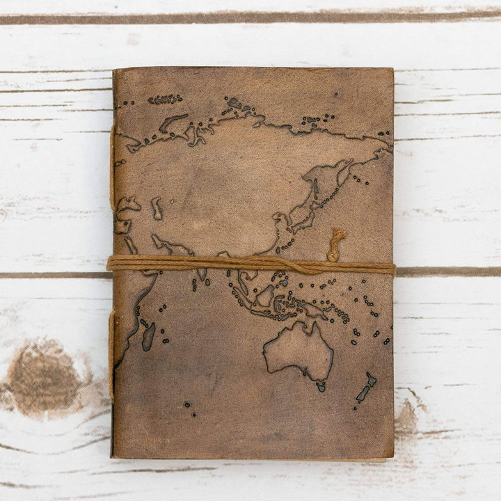 World Map 7x5 Handmade Leather Journal - Leather Journals By Soothi
