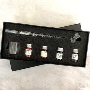 Glass Dip Pen Set With Ink - Leather Journals By Soothi