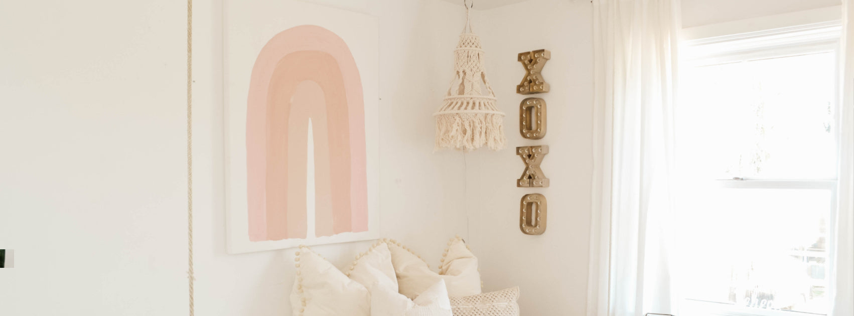 Easy rainbow art for a girl's room