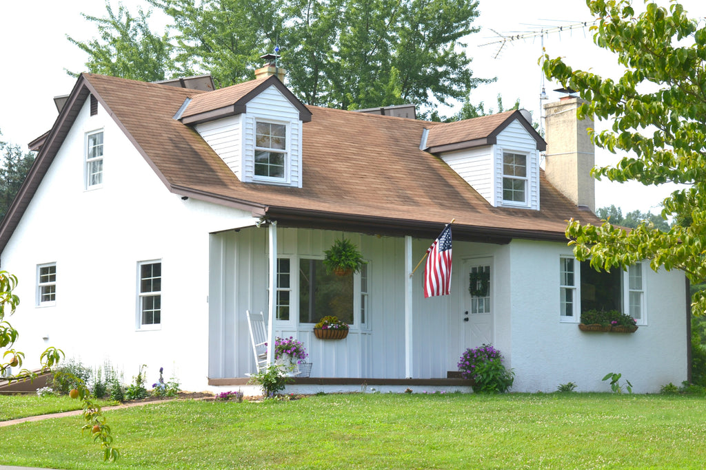 White painted house // www.aimeeweaverdesigns.com