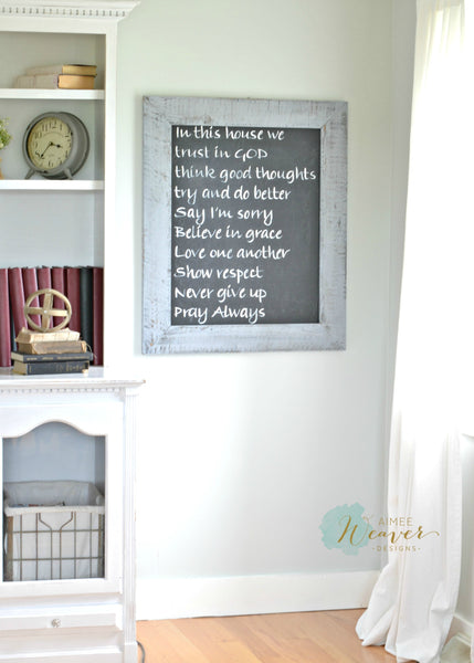 Family rules chalkboard sign by Aimee Weaver Designs