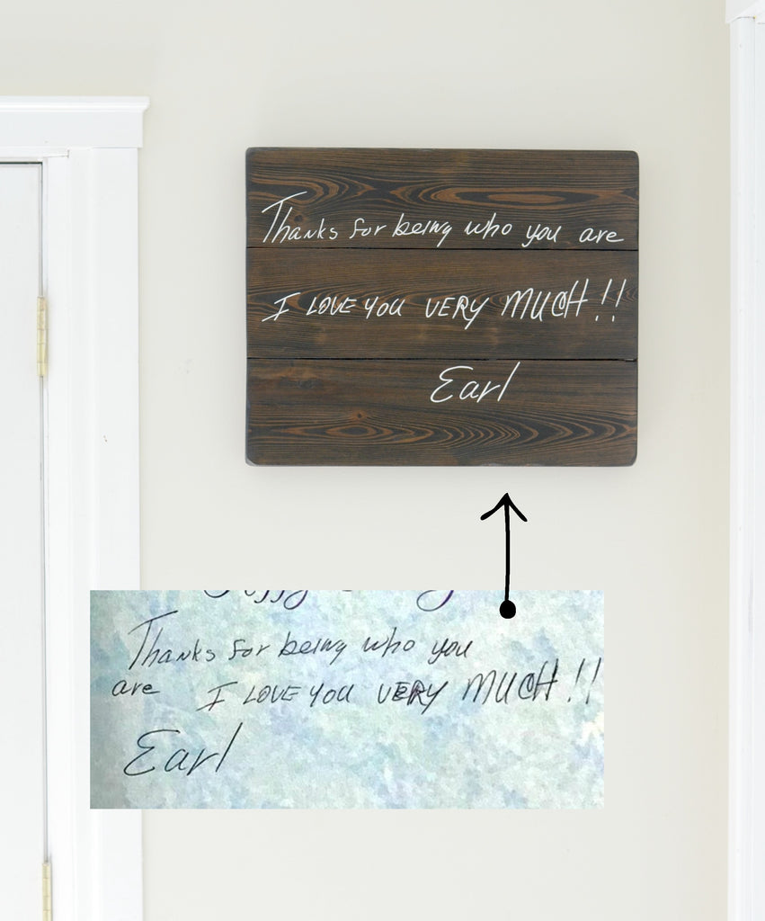 "Handwriting memory sign ""I love you"""