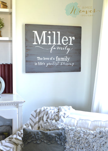 Family name sign by Aimee Weaver Designs