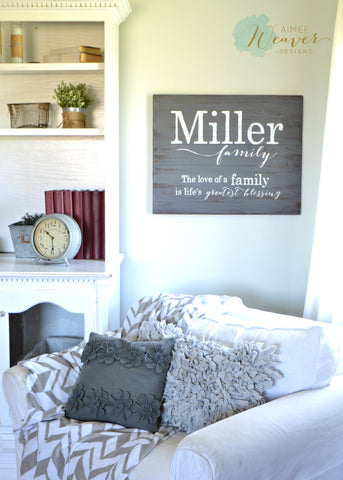 Last name family sign by Aimee Weaver Designs