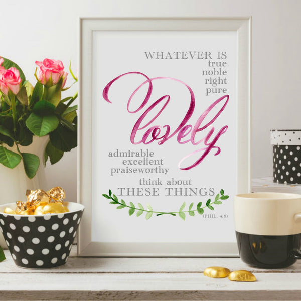 Whatever is true printable by Aimee Weaver Designs