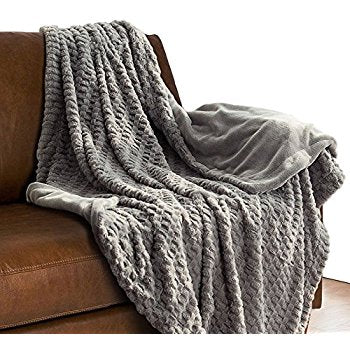gray fur throw blanket