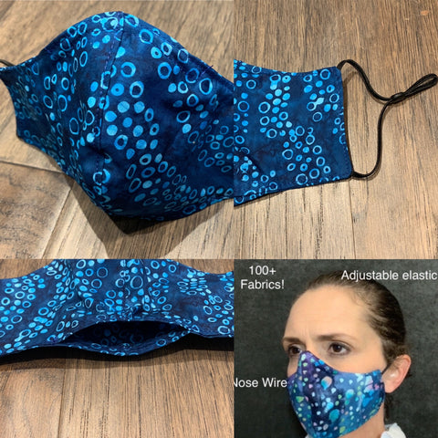 Handmade cotton blue dot batik face mask with filter pocket and nose wire, adjustable elastic