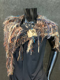 Hand Knit boho stylish cowl with purse clasp and fringe