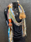 Feather and Leather Fringe Scarf with metal embellishments and leather, art yarn bohemian scarf