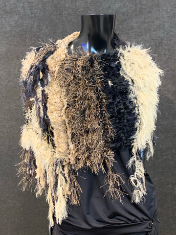 Hand knit Boho artistic black beige tone poncho with art yarns, bohemian fashion