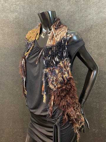 Hand knit black brown artistic infinity scarf or shawl with edge fringe