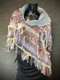 Hand Woven Poncho for women, gray indie clothing