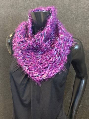 Knit purple Turtleneck Cowl, luxury yarn knit scarves
