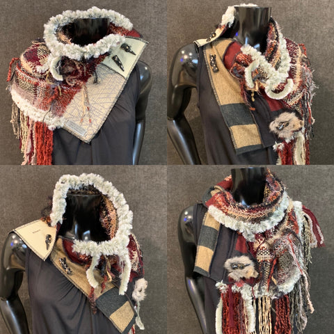 Modern Hand Woven couture cowl with buttons , handmade indie fashion