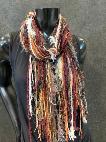 Handmade Fringie art yarn scarf in burgundy wine and orange, fall colors