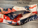 Patriotic USA flag face mask with filter pocket and nose wire. Adjustable elastic