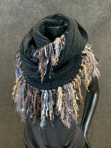 Extra wide luxury knit black infinity scarf with edge fringe