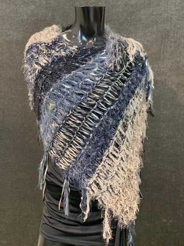 Hand knit Boho artistic taupe blue tone poncho with art yarns, bohemian fashion