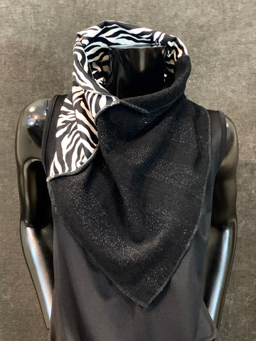 Handmade couture zebra neck scarf, animal print cowl