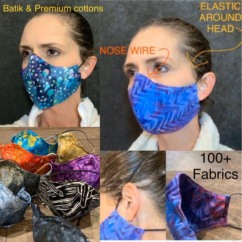 Handmade cotton batik Adjustable face mask with filter pocket
