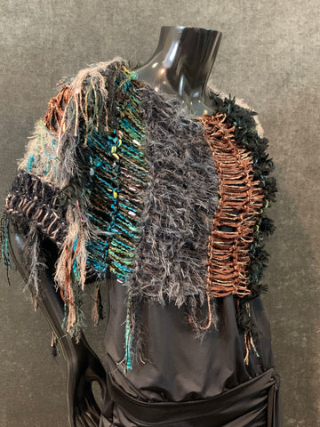 Hand knit artistic earth tone teal black poncho with art yarns, bohemian fashion