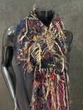 Hand knit Black and Wine tone boho indie scarf