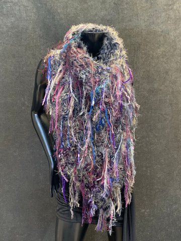 Hand knit bohemian taupe blue purple poncho with art yarns