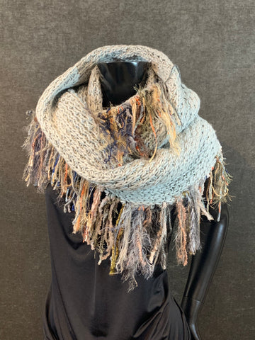Extra wide knit gray infinity scarf with edge fringe