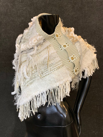 Ivory woven poncho with snaps, bohemian shawl, bridal wrap