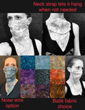 Handmade bandana style face mask with neck strap, custom batik or cotton mask