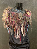 Knit Cowl with fringe and purse clasp on leather, game of thrones