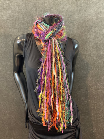 Halloween Scarf - Art yarn fringe scarf in rust black purple and lime
