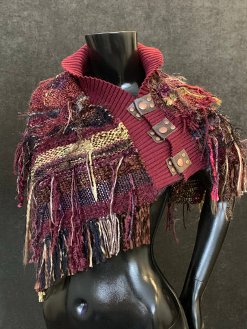 Burgundy woven poncho with snaps, bohemian shawl, handmade