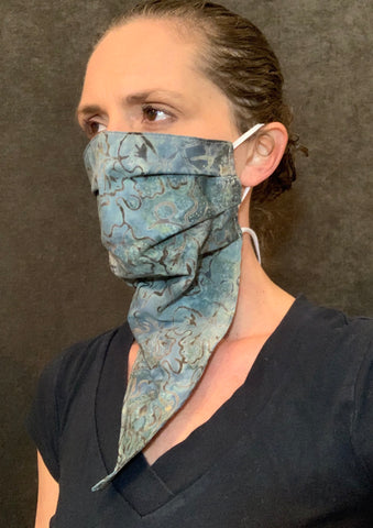 Handmade cotton abstract blue gray face with neck strap, Bandana mask