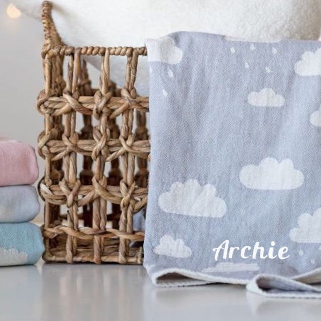 Personalised Cloud Blanket - Grey