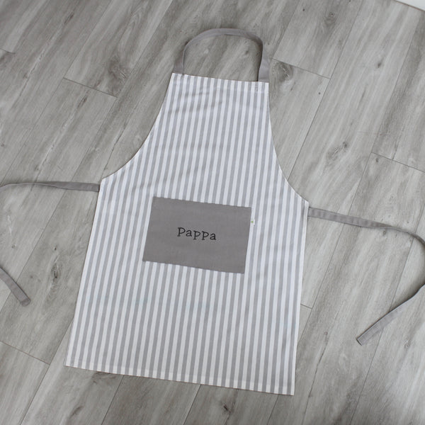 Personalised Grey Stripe Adult Apron
