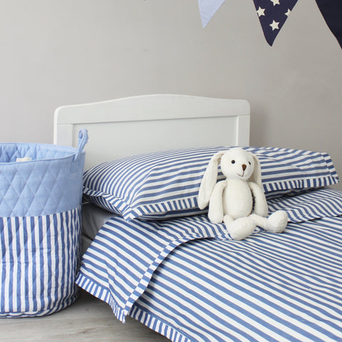 Blue Stripe Duvet Cover & Pillowcase Set - Cot Bed